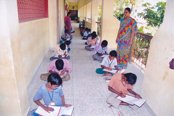 The Students are writing Examination