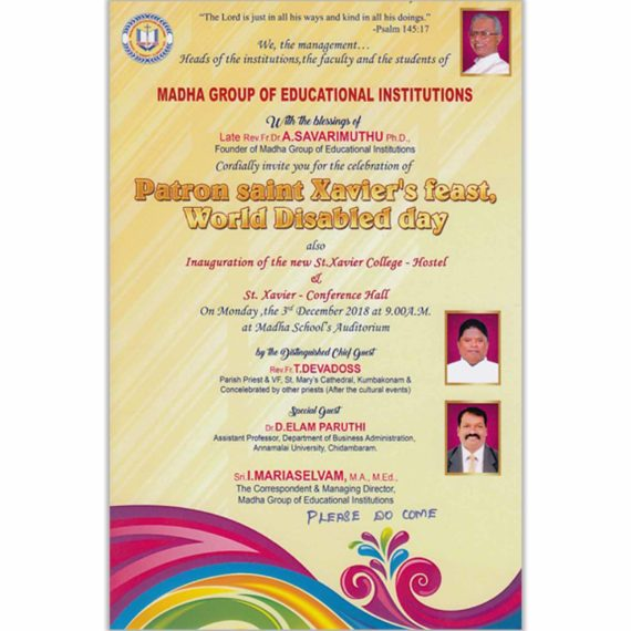 Patron saint Xavier's feast, World Disabled day